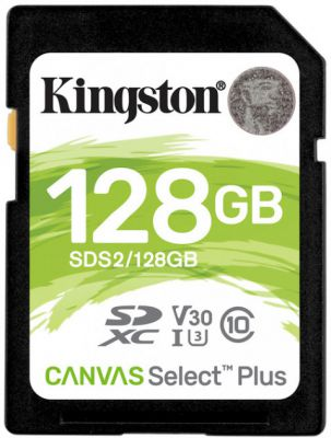 Карта памяти Kingston 128 GB SDXC Class 10 UHS-I U3 Canvas Select Plus (SDS2/128GB)