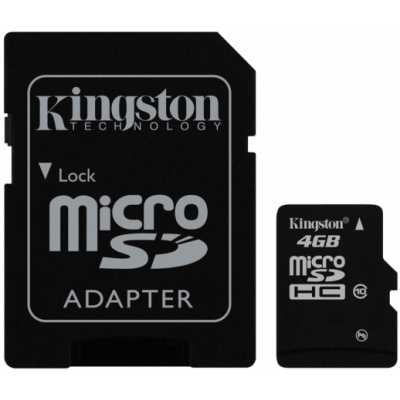 Карта памяти Kingston microSDHC 4 GB Class 10 + SD adapter