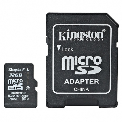 Карта памяти KINGSTON microSDHC 32 GB Class 10 + SD adapter